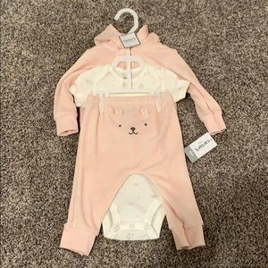 6m Carters 3 Pieces- Jacket, Onesie, & Pants -pink